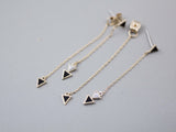 Front and Back Long chain triangles earrings ,Arrows String earrings,triangle ear jacket