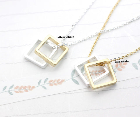 Square charm pendant necklace in gold / silver