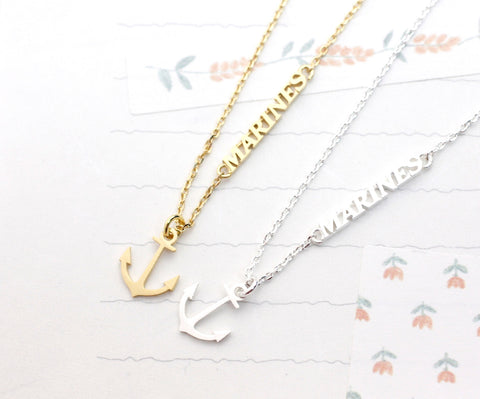 Anchor and MARINE charm pendant Necklace (gold / silver)