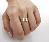 Chess Pieces Ring ,Knight and Rook adjustable Ring in silver/ gold , R0440G