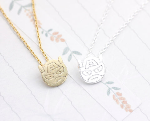 cute and unique robot mask pendant necklace( gold /silver)