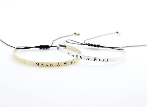 Make a Wish  Bangle Bracelet in Gold/ Silver
