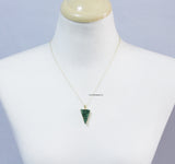 Triangle Emerald Green Druzy Pendant Necklace in 2 colors, N0777G