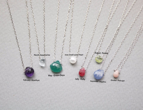 925 sterling silver chain with Birthstone gemstone Necklace., N0870S