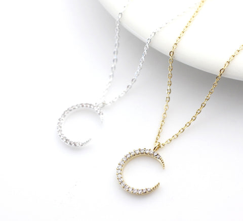 Crescent moon pendant Necklace detailed with CZ