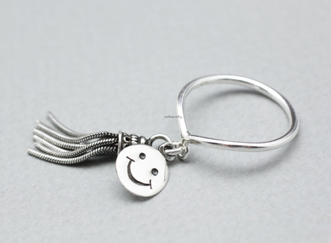 925 Sterling Silver Tassel and Smile pendant dangle Ring, R0814S
