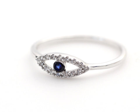925 Sterling Silver EVIL EYE ring detailed with CZ and Sapphire
