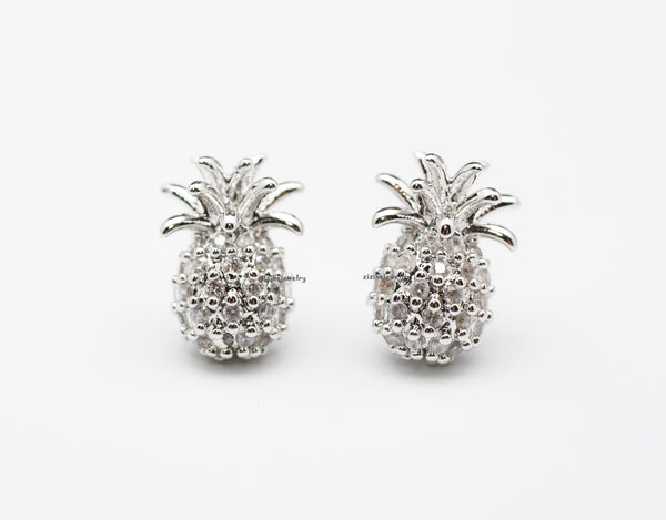 3bb72f608 Pineapple stud Earrings detailed with cubic in 2 colors, E0821S