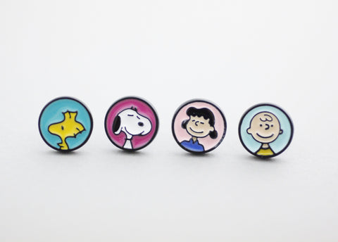 Cute Set of 4 the Peanuts Friends disc stud earrings,Snoopy, Charlie Brown earrings
