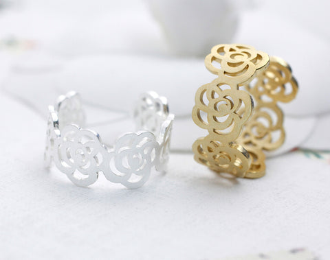 Rose Flower adjutable Statement Ring in 2 colors