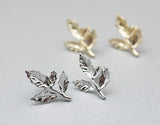 Sideways branch Leaves stud earrings in 2 colors, E0792G