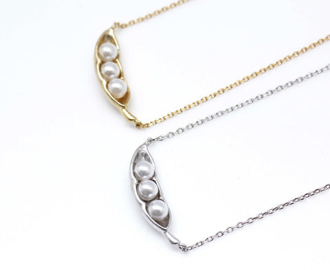 Pearl Peas in a pod in Matte gold /silver Necklace