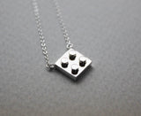 925 Sterling Silver Lego Block necklace - geometric jewelry