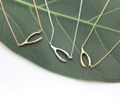 925 Sterling Silver Dainty Lucky Sideways Wishbone Necklace in 3 colors