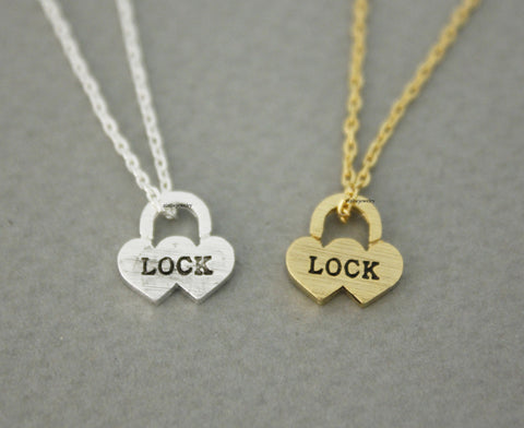 Love Heart Lock pendant Necklace in Gold / Silver, N0657G