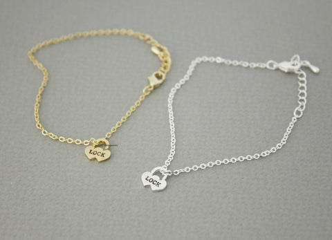 Love Heart Lock charm Bracelet in Gold / Silver, B0658G
