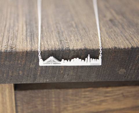 Cityscape Necklace, Skyline Necklace-  San Francisco  Necklace in 3 colors,(925 sterling silver/plated over Brass)  N0460K