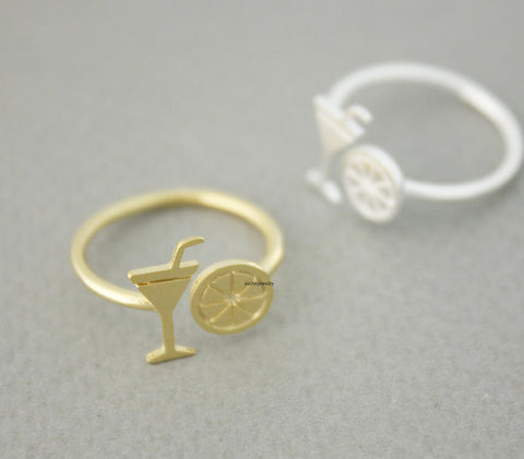 Cocktail Glass and Lemon adjustable Ring in 2 colors,R0674G