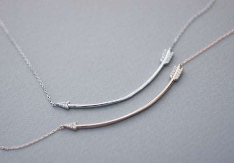 925 Sterling Silver Cubic Sideways Arrow Big Piercing Arrow Necklace ,Curved long arrow necklace