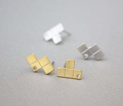Tetris Piece stud, Puzzle earrings with cubic in silver / gold ,E0884S