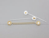 White Daisy flower studs with long posts, flower threader earrings in gold / silver, N0891G