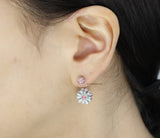 Front Back flower Earrings, wrap around cuff earrings in 2 colors, E0463S