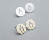 Lovely Cutout Penguin Medal stud Earrings in gold /silver, E0816G