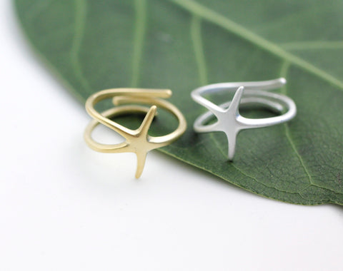 Starfish Adjustable Ring in 3 colors (925 sterling silver / plated over Brass)