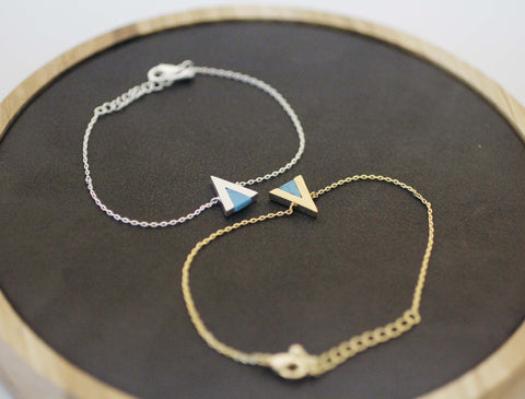 Triangle Charm Bracelet pointed with Turquoise