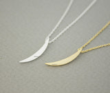 Skinny Crescent moon pendant Necklace in gold / silver, N0678G