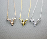 Antler Necklace, Elk Deer ,Deer head Necklace, Stag pendant Necklace in 3 colors