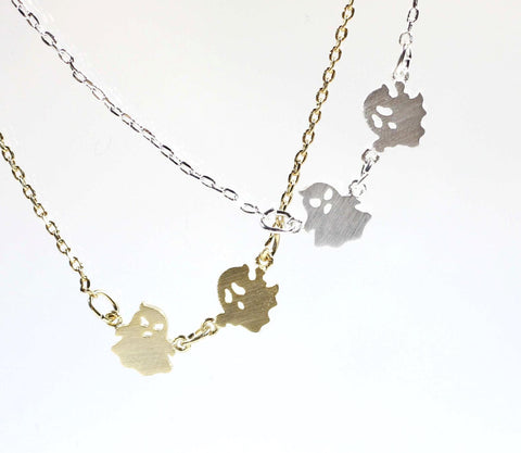 Fun and cute Angry Ghosts necklace in 2 colors