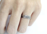 925 Sterling Silver Hammered cubic setting ring,  Skinny Stacking Rings,Thin Silver Rings, Skinny Cubic Silver Rings, R1153S