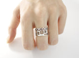 925 Sterling Silver Cut Out Rhombus band ring, R0681G