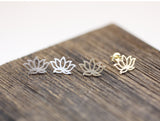 Lotus Stud Earrings  in gold / silver, E0020G