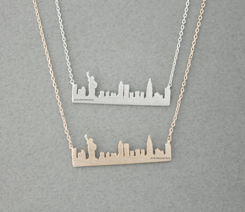 Cityscape Necklace,Skyline Necklace New York Necklace,NY Necklace,Statue of Liberty in 3 colors(925 sterling silver/plated over Brass)N0477K