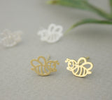 Cut out Honeybee / Honey bee stud earrings in 2 colors, E0694G