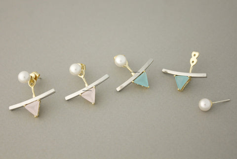Front and Back Pearl and long bar Post Earrings, Wrap around dangle cuff earrings, Ear Jackets. Pearl Ear Jacket,E0700S