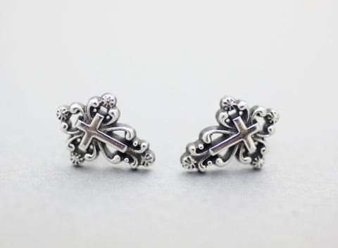 925 Sterling silver Antique Cross Stud Earrings