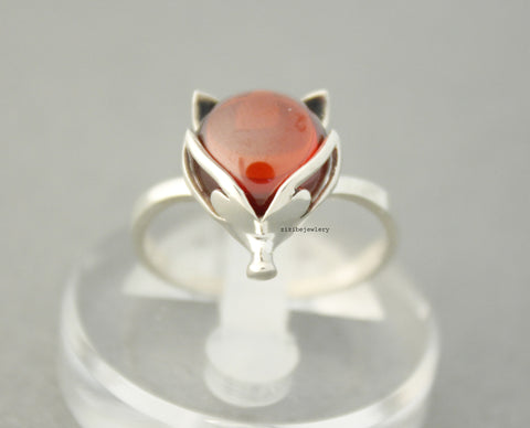 925 sterling silver Red Gemstone Fox  Face  Ring, R0483S