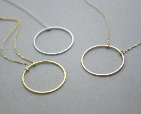 Big Size Luck karma Circle necklace in 3 colors, N0236K