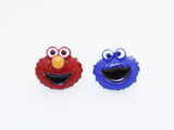 Sesame Street Stud Earrings , Cookie Monster And Elmo Earrings, The Muppet Show Cartoon Earrings