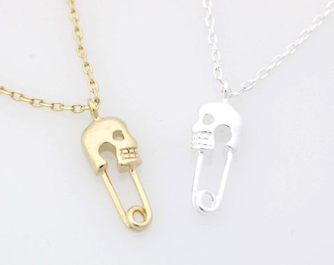 Skull Safety Pin charm pendant necklace in gold / silver
