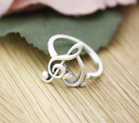 925 Sterling Silver Heart Treble Clef Ring,  Musical Note Ring, R1155S