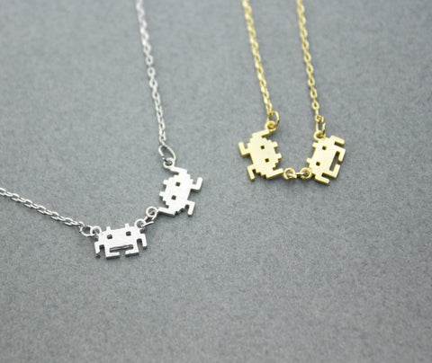 Vintage game character pendant necklace in Gold and Silver