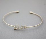 Kiss Letter Bangle detailed with CZ in 3 colors, B0908S