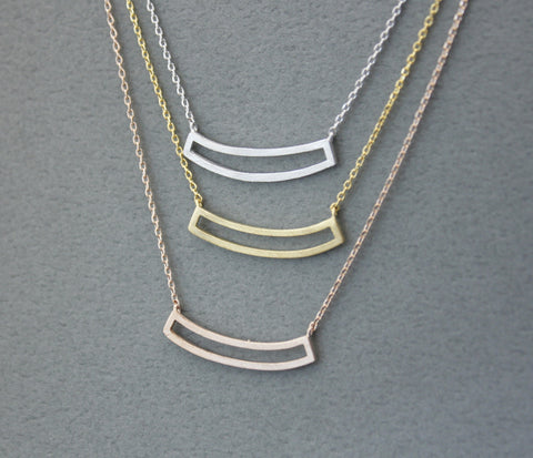 Curved open bar necklace in 3 colors, N0253K