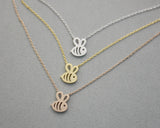 Cute Honeybee / Honey bee necklace in 3 colors(925 sterling silver/plated over Brass), N0254K