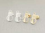 Holiday earrings, snowman earrings, winter jewelry, white snow holiday jewelry