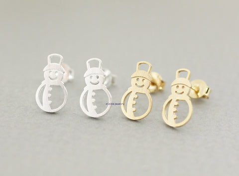 Holiday earrings, snowman earrings, winter jewelry, white snow holiday jewelry, Christmas gift in 2 colors, E0824G
